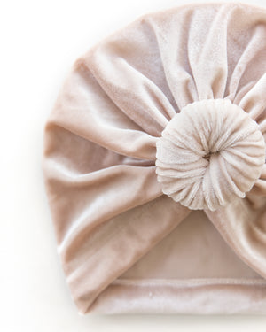 Velvet Knot Turban in Champagne - Reverie Threads