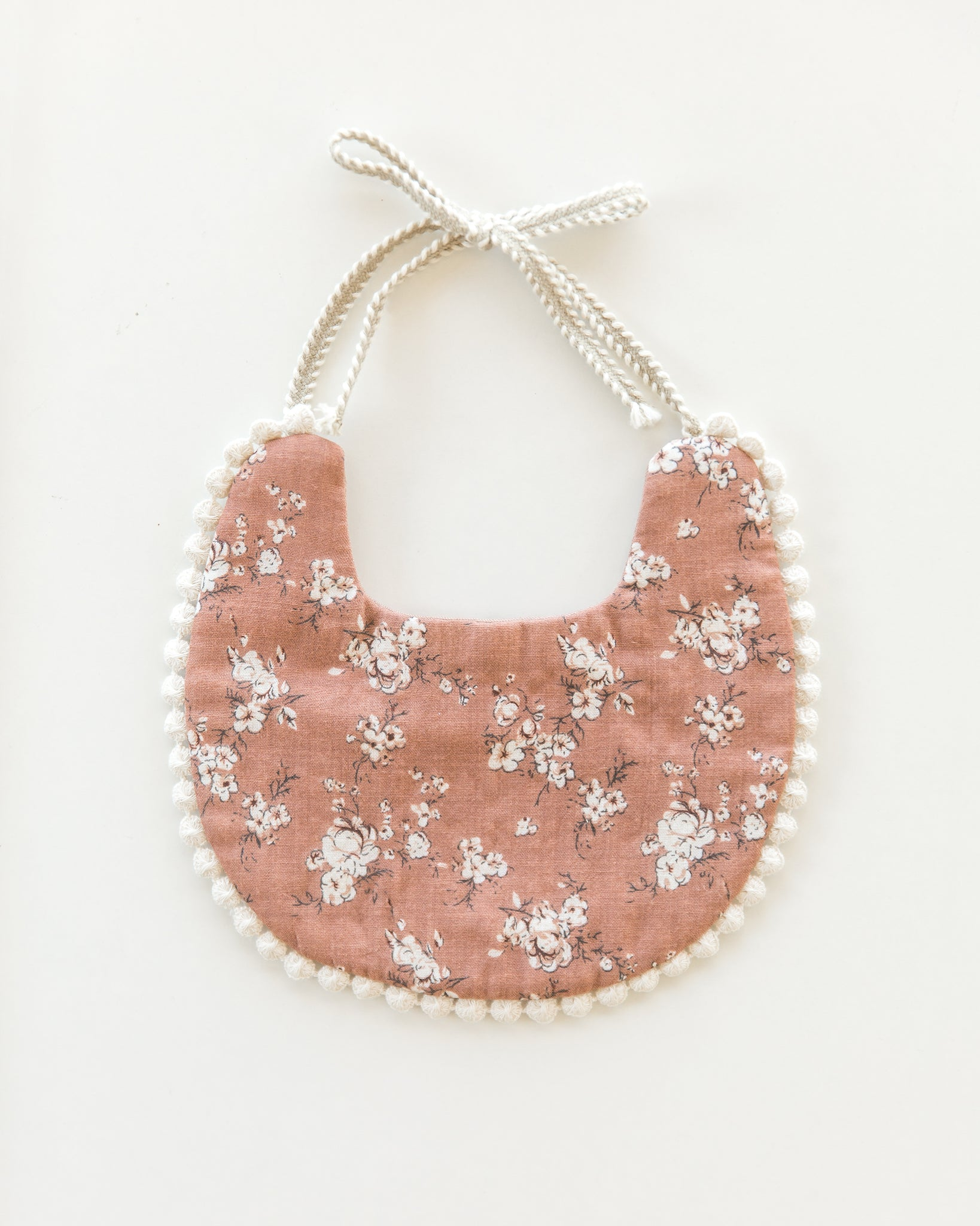 Scalloped Bib in Rosy Brown & Posies // Double Sided - Reverie Threads