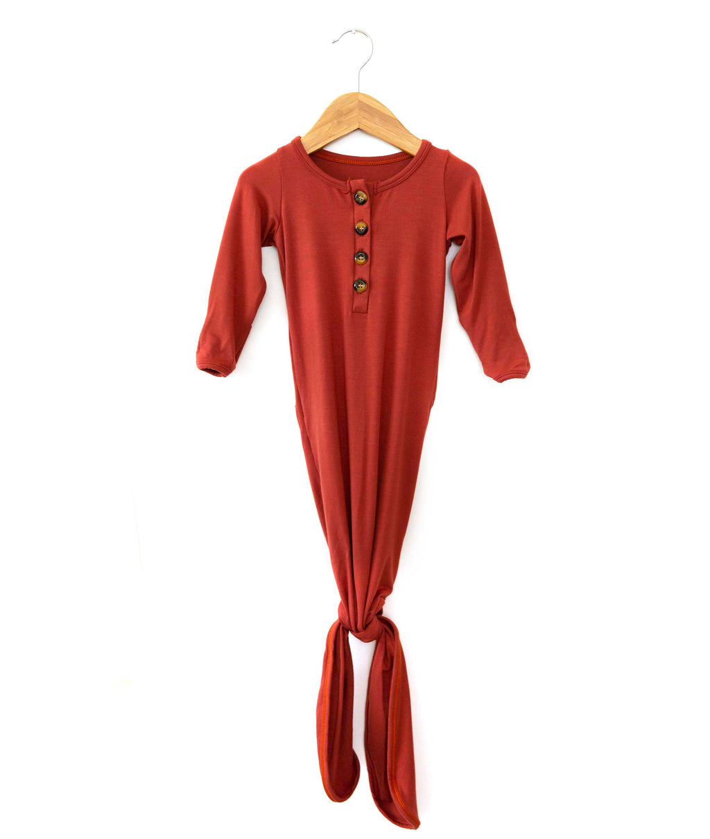 Buttery Soft Knotted Gown in Copper Red - Reverie Threads