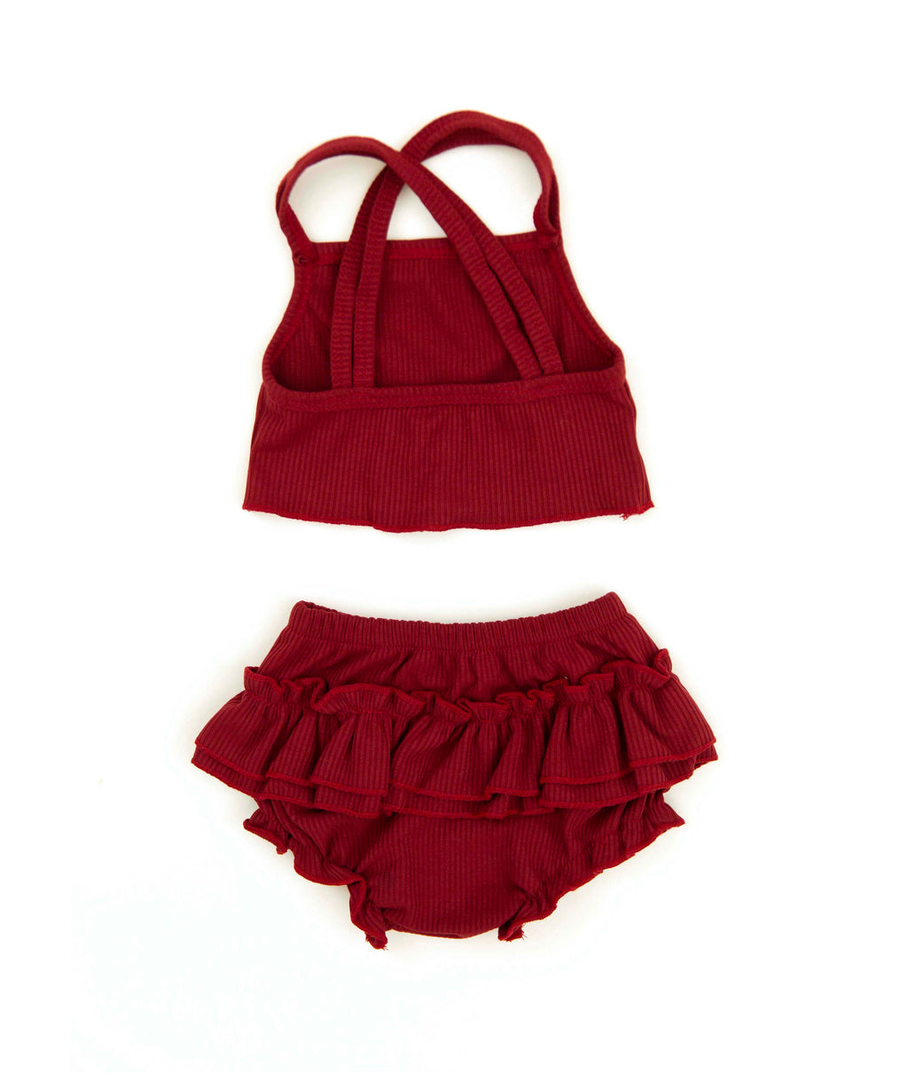 Juliana Outfit in Maroon Red - Reverie Threads