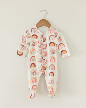 Rainbow Ruffle Footed Coverall - Reverie Threads