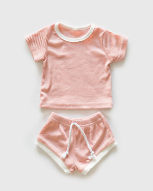 Ribbed Cozies in Pink & White Trim - Reverie Threads