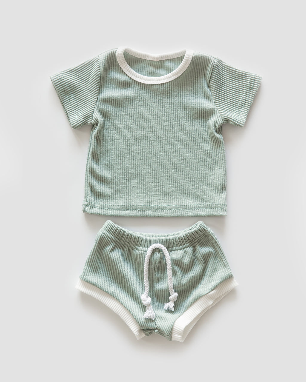 Ribbed Cozies in Seafoam & White Trim - Reverie Threads