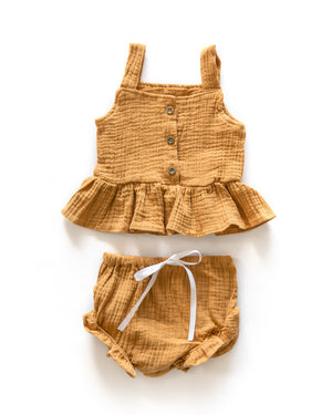 Adella Ruffle Outfit in Earthy Orange - Reverie Threads