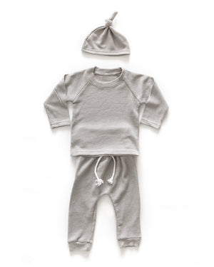 Waffle Knit Outfit in Gray - Reverie Threads