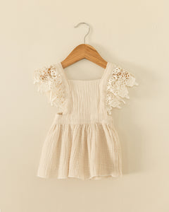 Heidi Lace Sleeve Dress in White - Reverie Threads