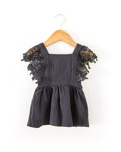 Heidi Lace Sleeve Dress in Navy Blue - Reverie Threads