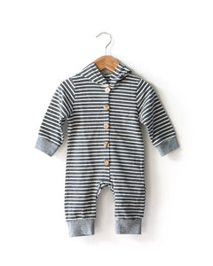 Striped Hooded Romper in Charcoal - Reverie Threads