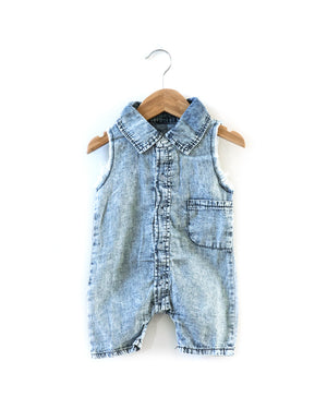 Fray Denim Romper