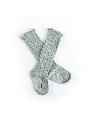 Knee High Cable Knit Socks in Gray