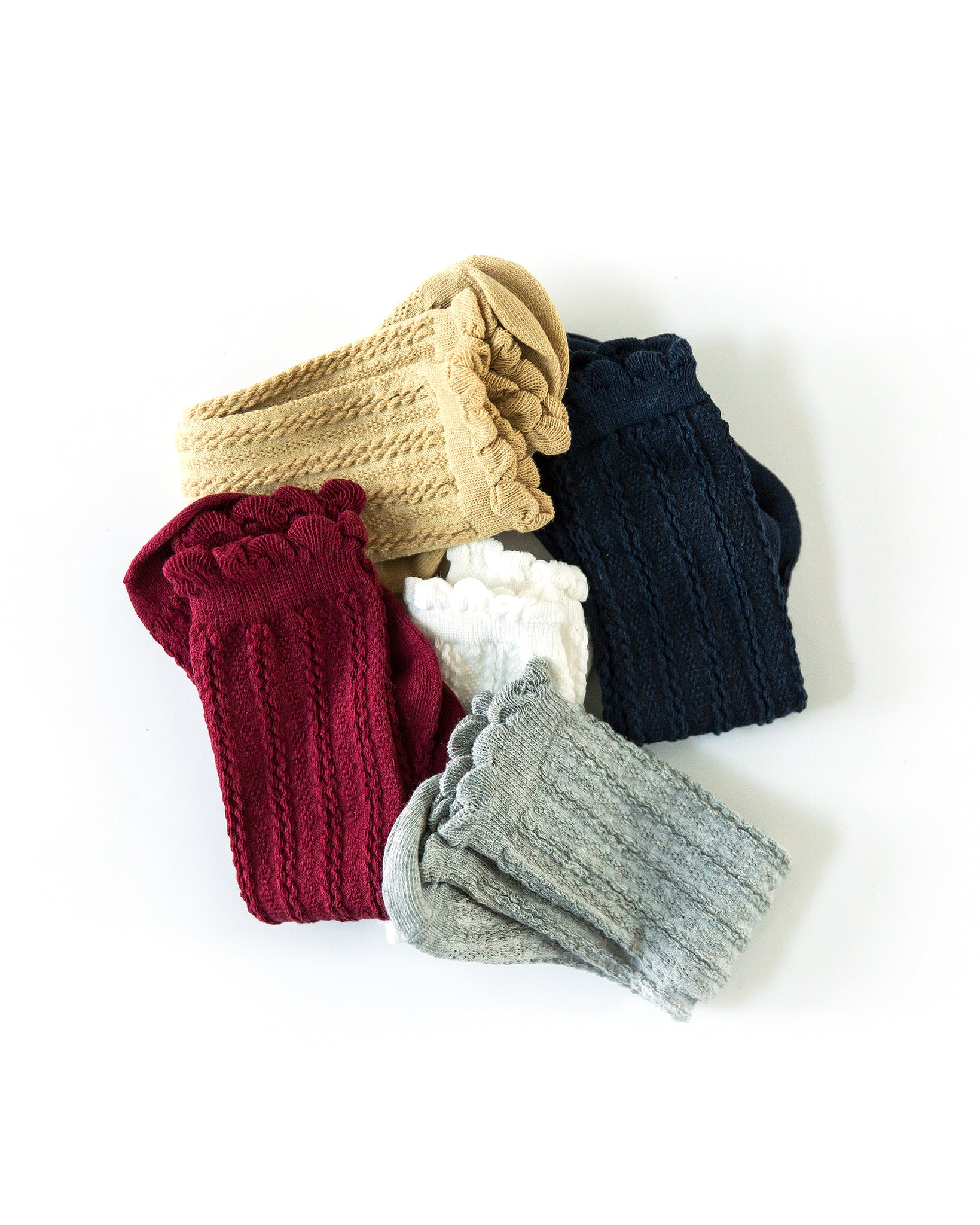 Knee Cable Knit Socks in Gray