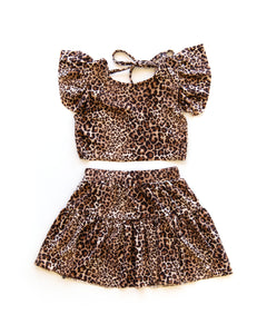 Ivy Crop Top & Skirt Outfit in Cheetah Print - Reverie Threads