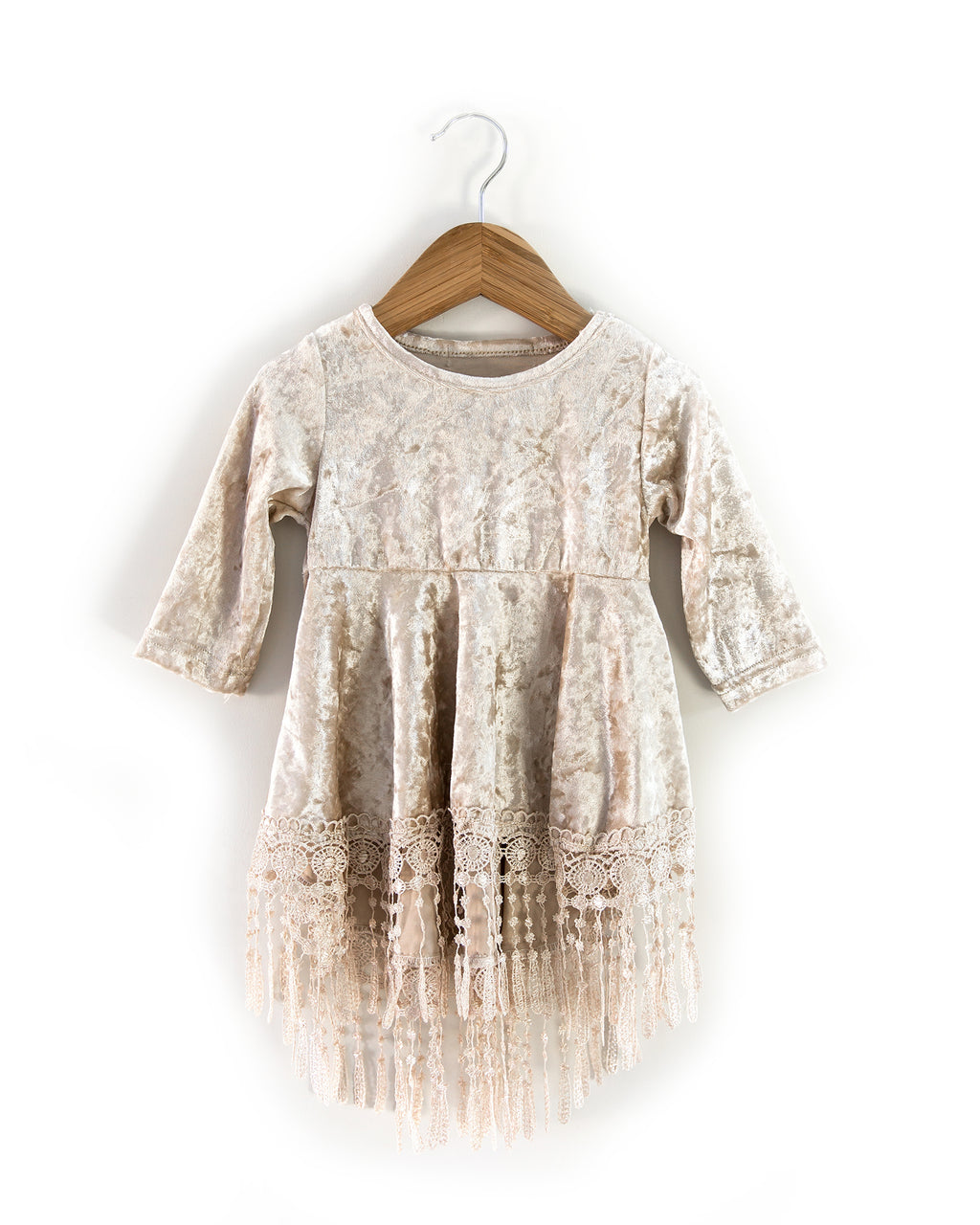 Indi Boho Velvet Dress in Beige - Reverie Threads