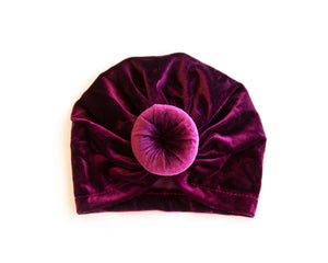 Velvet Knot Turban in Fuschia - Reverie Threads