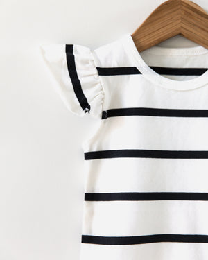 Striped Short Sleeved Onesie in White - Reverie Threads