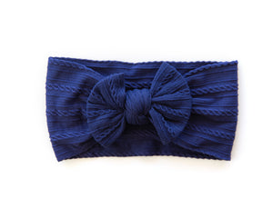 Cable Knit Headband in Navy Blue - Reverie Threads