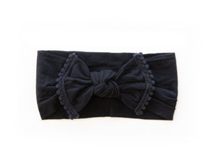 Nylon Pom Pom Headband in Black - Reverie Threads