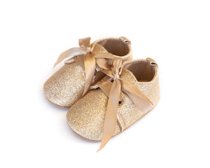 Bow Ballet Flats in Gold Shimmer - Reverie Threads