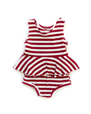 Sunni Outfit in Cherry Stripes - Reverie Threads