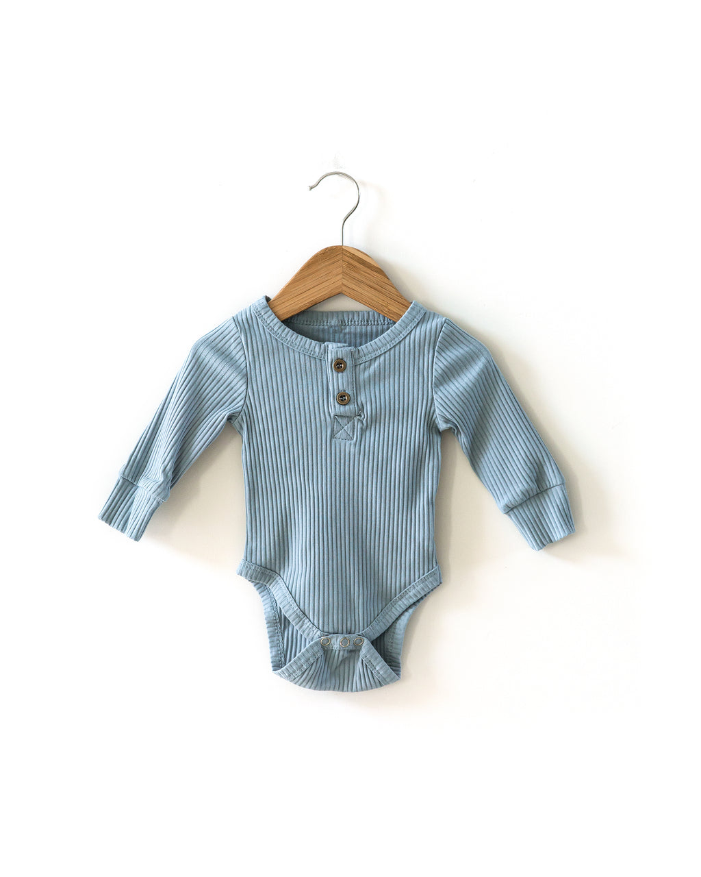 Ribbed Long-Sleeved Bodysuit in Dusty Blue
