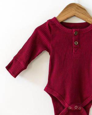 Ribbed Long-Sleeved Bodysuit in Dark Red