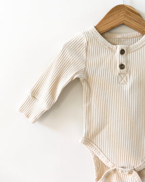 Ribbed Long-Sleeved Bodysuit in Oatmeal - Reverie Threads