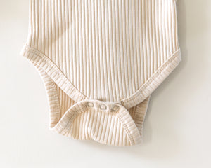 Ribbed Long-Sleeved Bodysuit in Oatmeal