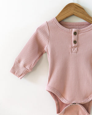 Ribbed Long-Sleeved Bodysuit in Dusty Pink - Reverie Threads