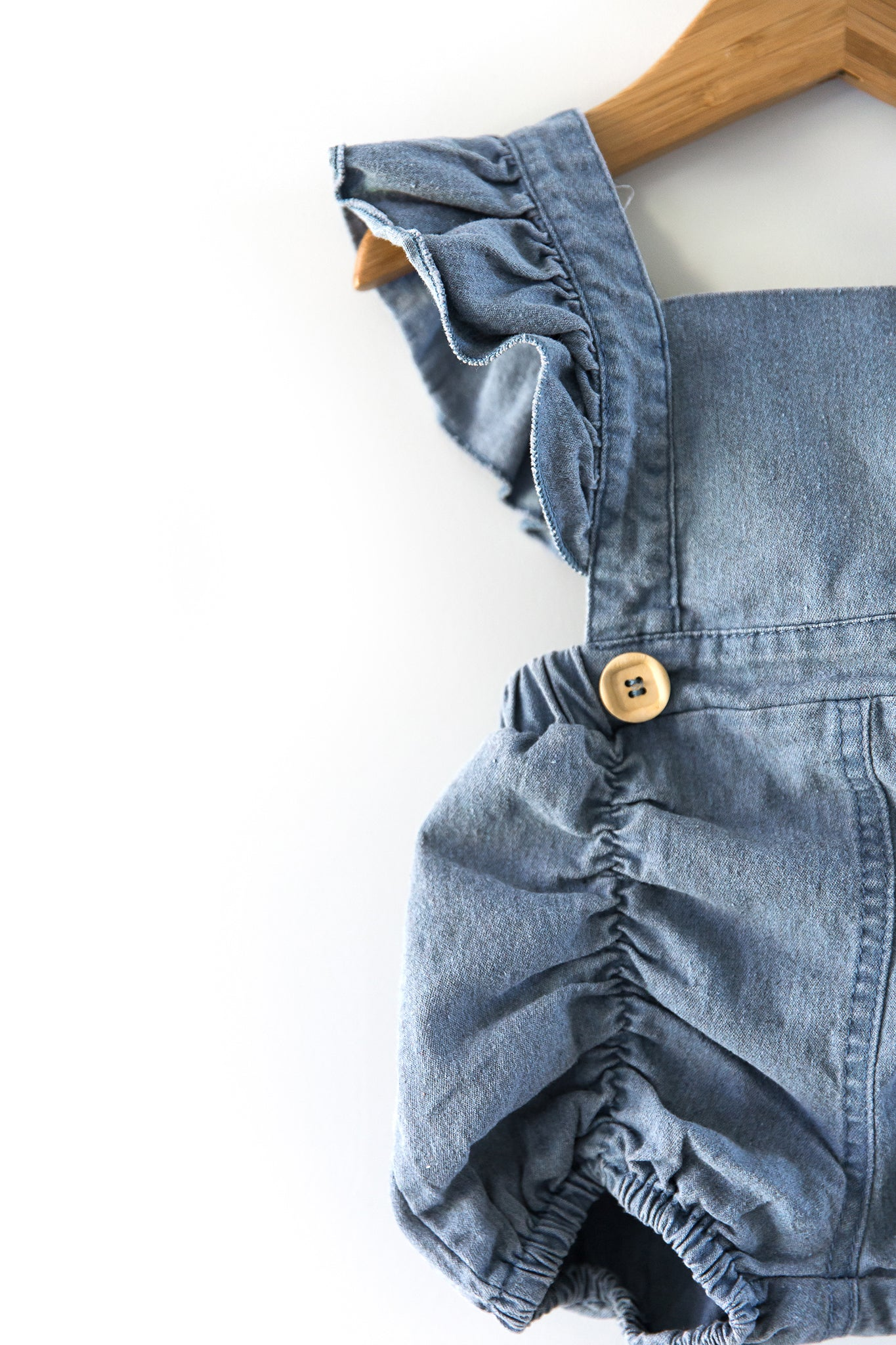 Denim Ruffle Romper - Reverie Threads