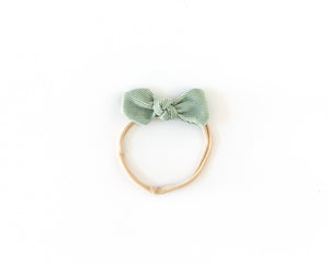 Dainty Corduroy Bow in Mint - Reverie Threads