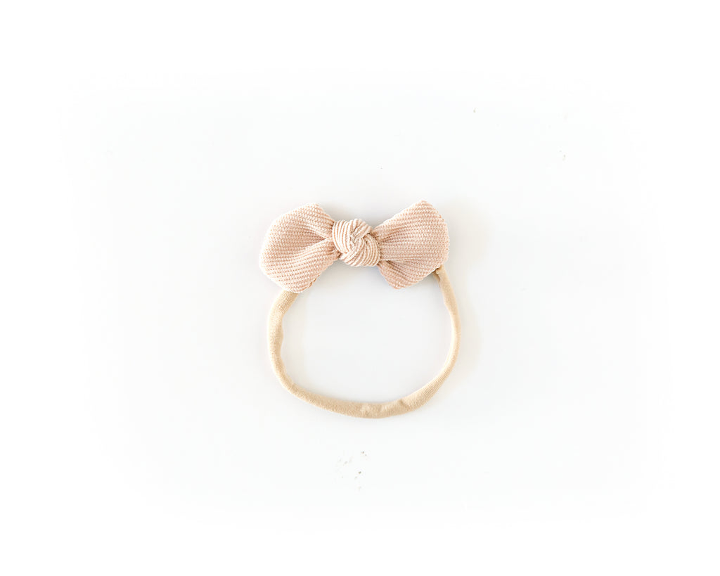 Dainty Corduroy Bow in Nude - Reverie Threads