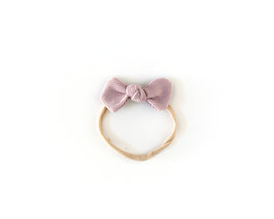 Corduroy Bow Headband in Lilac