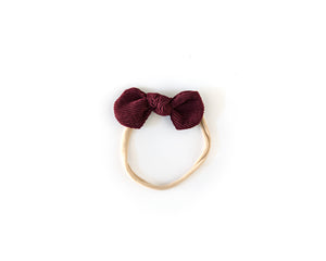 Dainty Corduroy Bow in Burgundy - Reverie Threads