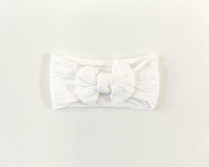 Cable Knit Headband in White