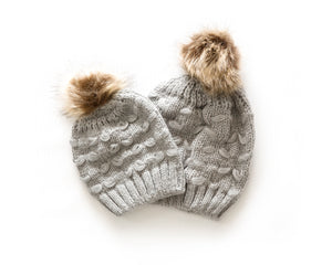 Mommy & Me Cozy Knit Beanie in Gray - Reverie Threads