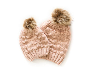 Mommy & Me Cozy Knit Beanie in Dusty Pink - Reverie Threads