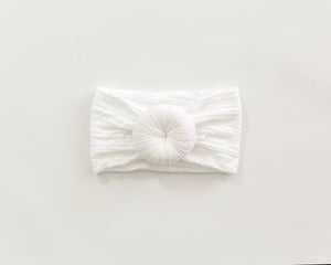 Cable Knit Turban Headband in White