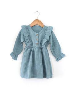 Madison Dress in Stone Blue - Reverie Threads