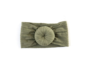 Cable Knit Turban Headband in Olive Green