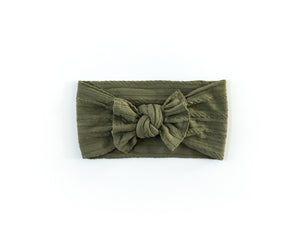Cable Knit Headband in Olive Green - Reverie Threads