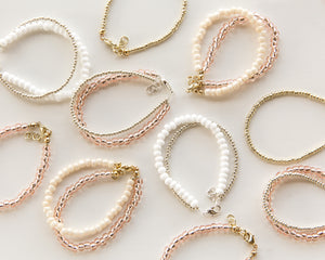 Lovely Double Bracelet in Pink & Ivory - Reverie Threads