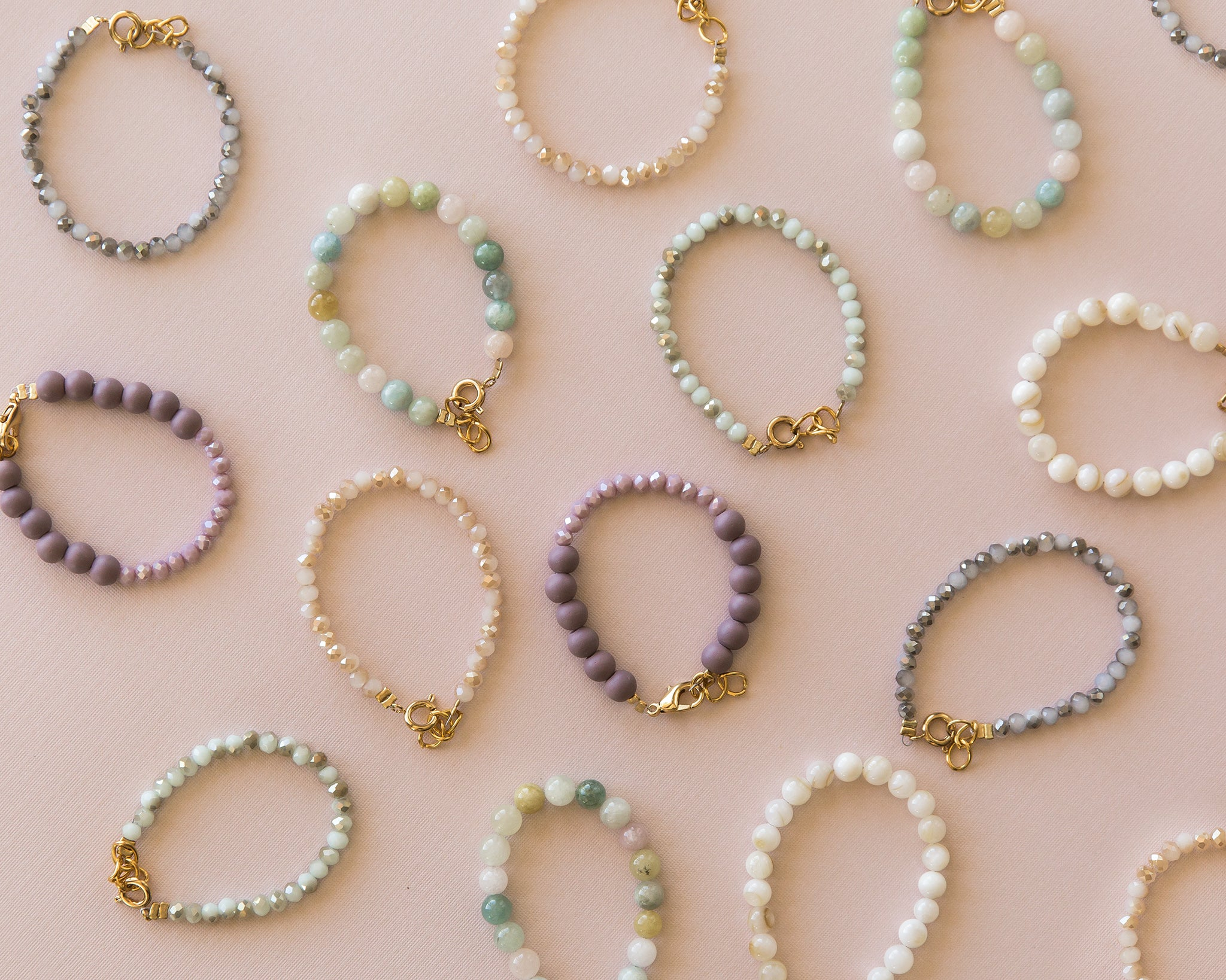 Mama & Me Gold & Pale Pink Bracelet - Reverie Threads