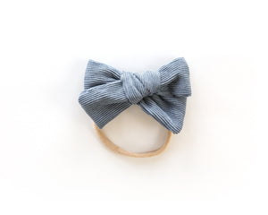 Chunky Corduroy Bow in Dark Blue - Reverie Threads