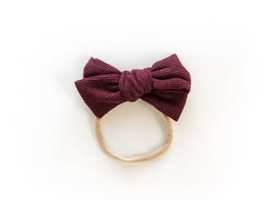 Chunky Corduroy Bow in Burgundy - Reverie Threads