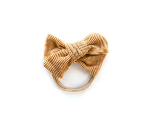Chunky Corduroy Bow in Mustard - Reverie Threads