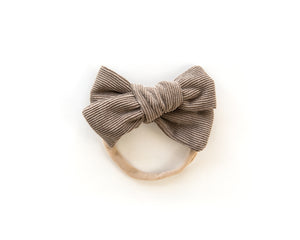Chunky Corduroy Bow in Brown - Reverie Threads
