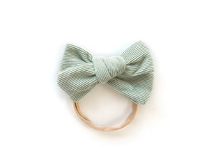 Chunky Corduroy Bow in Mint - Reverie Threads