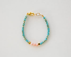 Shimmer Bead Bracelet in Turquoise & Coral - Reverie Threads