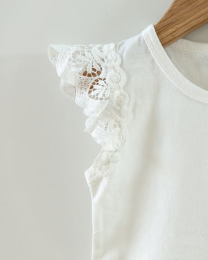 Jade Lace Sleeve Bodysuit in White