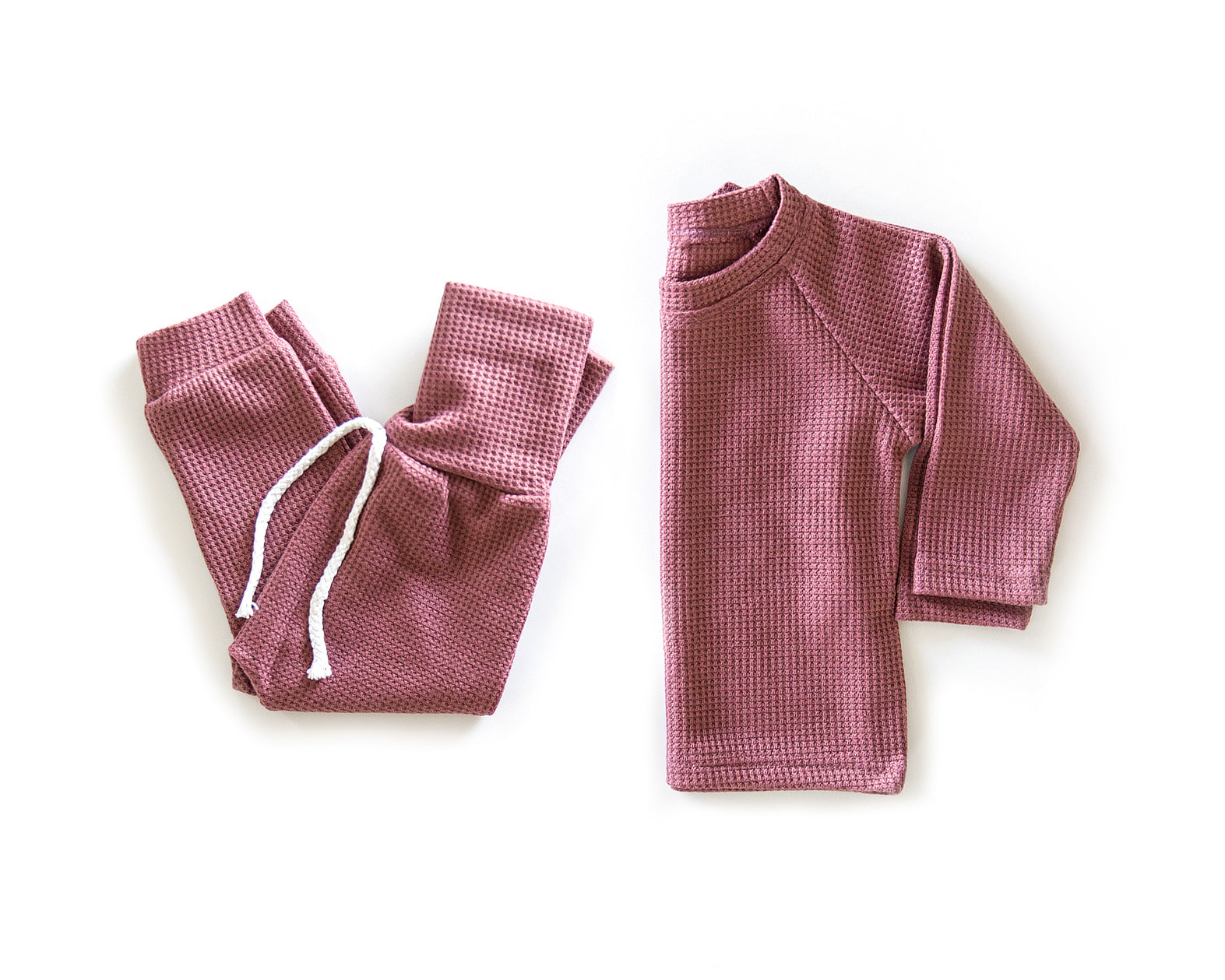 Waffle Knit Outfit in Maroon - Reverie Threads